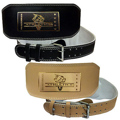 """Weight Lifting 6"""" Leather Belt Back Support Gym Power Fitness Training Athletics"""