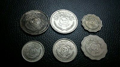 iraq 1959 coins , 5 10 25 50 and 2 100 fils 4 silver total 6