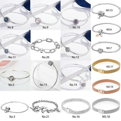 Silver Bracelet Bangle snake chain For European S925 charms bead dangle pendant