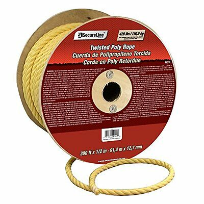 "Lehigh Group PY230 1/2"" x 300' Polypropylene Twisted Rope, Yellow"