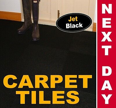 20 JET BLACK Heavy Duty CARPET TILES For Commercial Use