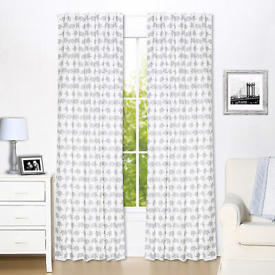 Grey Elephant Print Blackout Window Drapery Panels - Two 84 x 42 Inch Panels