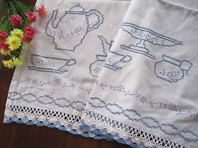 Country Chic Blue Teapot Cup Cross Stitch Embroidery Crochet Lace White Curtain