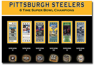 """6 Super Bowl Pittsburgh Steelers Tickets Ring Fridge Magnet Size 3.5"""" x 2.5"""""""
