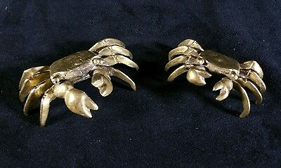 2 Small Shiny Brass Crab Figurines One 2.5 x1 Inches & One 3 x1.25 Inches EXC