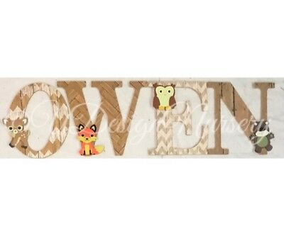 Woodland Themed Wooden Wall Letters - Custom Made Nursery Decor - Wall Letters