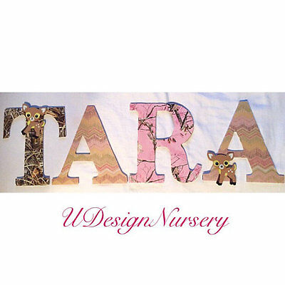 Girls Woodland Themed Wooden Nursery Letters - Wall Letters - Forest Animal