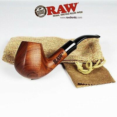"""RAW """"RAWSOME"""" Rolling Papers Brand Uncoated Wood Tobacco Smoking Pipe W/ Pouch"""
