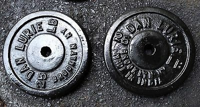 "Dan Lurie 25 lb Pair Weight Plates 2x25 pounds Vintage 1"" holes"