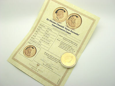 Sir Winston Churchill Never Surrender Gold Plated Commemorative Coin With Cert