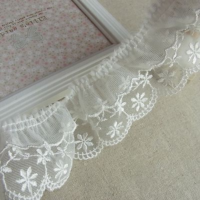 "Ruffle Tulle Lace Embroidery Cotton Crochet Lace Trim 5.5cm(2.2"") Wide White 1Yd"
