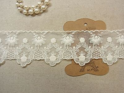 "Tulle Lace Embroidery Cotton Crochet Lace Trim 6.2cm(2.5"") Wide 1Yd"