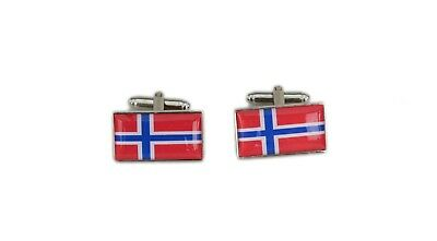 Norway Flag Cufflinks with free organza pouch