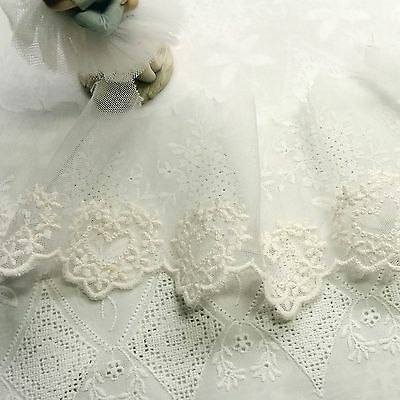 "Lovely Heart Tulle Lace Embroidery Cotton  Lace Trim 8.5cm(3.3"") Wide 1Yd"
