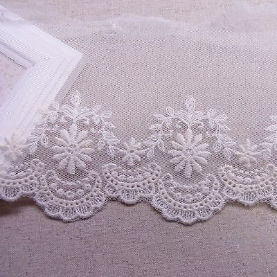 "Lovely Tulle Lace Embroidery Cotton Crochet Lace Trim 9.5cm(3.7"") Wide 1Yd"