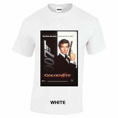 James Bond 007 Goldeneye Movie poster white t shirt Pierce Brosnan S to 3XL