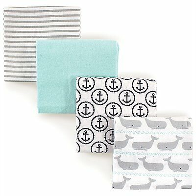 """HUDSON BABY BOYS 4 PACK COTTON FLANNEL RECEIVING BLANKETS 30"""" x 36"""" WALES"""