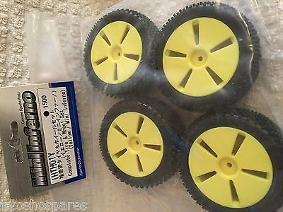 KYOSHO MINI INFERNO, HALF 8. 4 x NEW YELLOW WHEELS & PIN  PATTERN TYRES, IHTH01Y