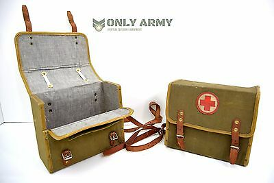 Vintage 1940's Military First Aid Box Satchel Canvas Bag With Leather Strap Army