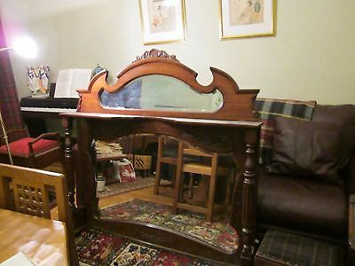 Stunning Edwardian Mahogany Carved Overmantle Bevelled Mirror With Pilasters