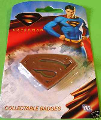 Superman Badge Officiel logo Superman Neuf blister superman metal badge