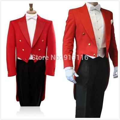 2017 Tailcoat Groom Red 3 Pieces Best Men Wedding Tuxedo Formal Prom Suit Custom