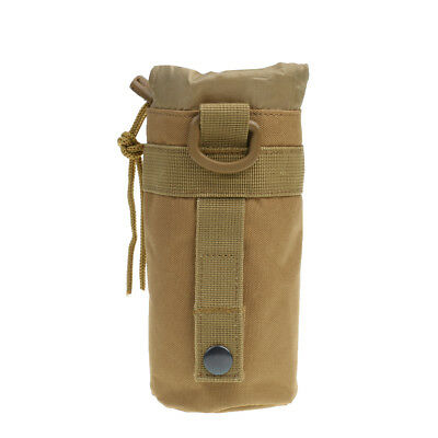 Tactical Molle Water Bottle Pouch Kettle Bag Holder w/ Belt Clip Coyote Tan