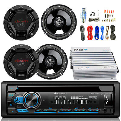 "Bluetooth Pioneer CD Radio,400W 4 Channel Amplifier and Kit, 4 JVC 6.5"" Speakers"