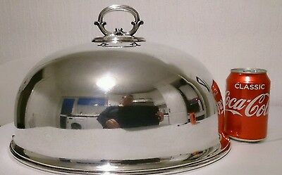 "Antique Walker & Hall Silver Plate Dome Cloche Meat Cover 14"" Large Turkey/Game"