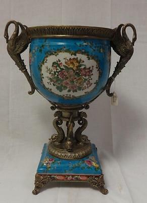 Antique Brass & Porcelain Ornate Urn Winged Bird/Doulphin Base Stamped