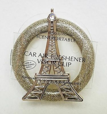 Bath Body Works Scentportable Holder EIFFEL TOWER Paris Gold Unit Car Visor Clip