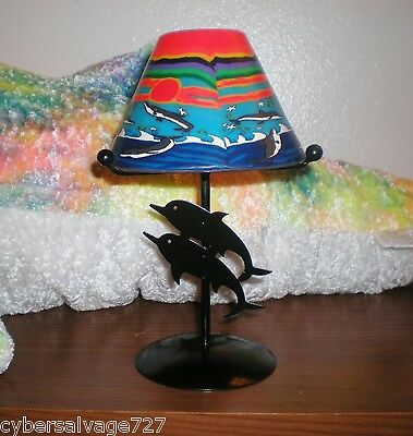 Lamp Style Tealight Candle Holder with Two Dolphins Hand Pained Glass Shade