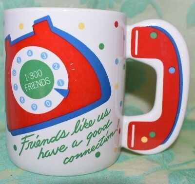 AVON 1-800-Friends Coffee Cup Mug Rotary Phone Receiver Handle collectible