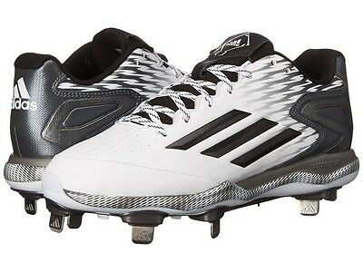 Adidas PowerAlley 3 ST Baseball Cleats Mens Size 7 White/Black - NEW