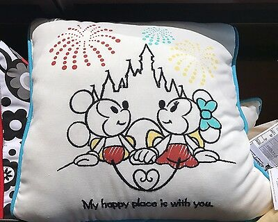 NEW Disney Parks MICKEY & MINNIE My Happy Place Is With You Throw Pillow! Castle