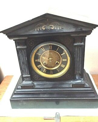 "French Marti Marble Case Striking Mantle Clock Black Gilt Face GWO 14""H 13""W"