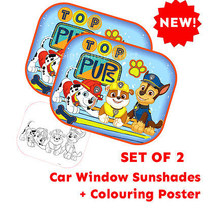 Paw Patrol Boy Set of 2 Protectors Car Window Sunshades Baby Children +Poster