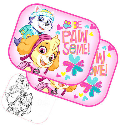 Paw Patrol Girl Set of 2 Protectors Car Window Sunshades Baby Children +Poster