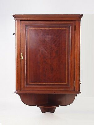 Antique Edwardian Mahogany Corner Cupboard - Vintage Hanging Display Cabinet