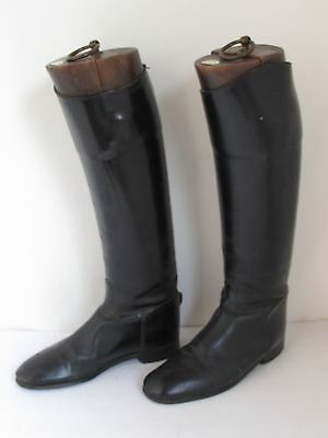 Antique Leather English Marlborough Riding Boots & Maxwell Trees size 9