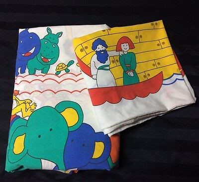 Noahs Ark Duvet And Pillowcase Animals Boat Religious Cutter Fabric Made In UK