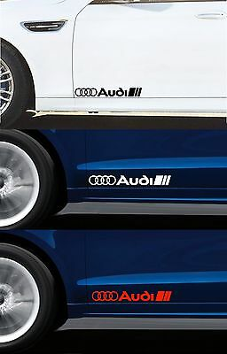 For AUDI - 2 x DOOR - SIDE SKIRT - DECALS STICKERS ADHESIVES - 300mm long