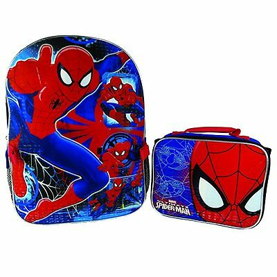 """Marvel Spiderman Children 16"""" Backpack Large With Insulated Lunch bag"""