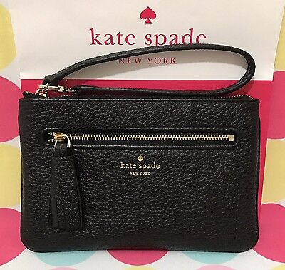 NEW KATE SPADE Tinie Chester Street Pebbled Black Leather Wristlet  $119