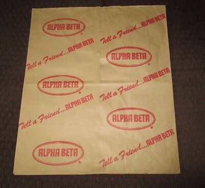 Rare Vintage Alpha Beta Paper Grocery Bag In Mint Shape Unused !!