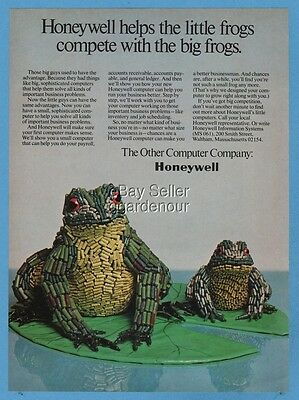 1973 Honeywell Computer Parts Wire Sculpture Frogs Art Vintage Print Ad