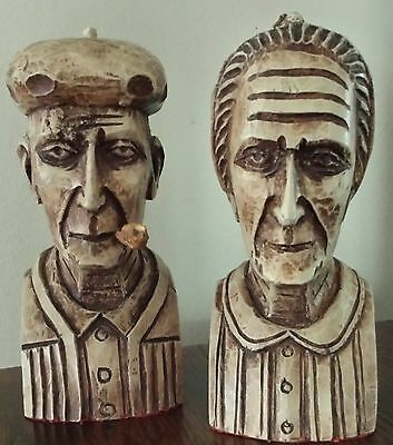 Folk Art Carved Wooden Bookends