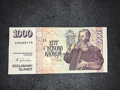 1000 Kronur ICELAND ���� ��������Banknote , Foreign Currency - CRISPY