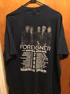 FOREIGNER w/ BRYAN ADAMS ~ XL ~ 2008 World Tour Concert T Shirt