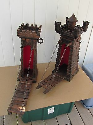 Vintage Wine Display Castle and Drawbridge Spanish Wine LOT OF 2 Drawbridges